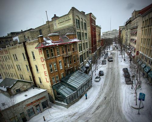 street winter snow building architecture winnipeg gritty manitoba albertstreet hdr