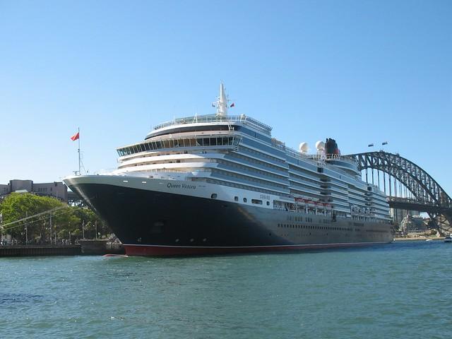 Queen Victoria Cruise Ship Docked At Curcular Quay Sydney