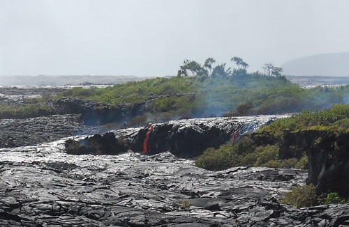 Hawaii lava flowing downhill