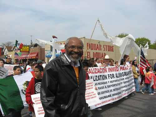 Abayomi Azikiwe, editor of the Pan-African News Wire, covering the annual May Day demonstrations in southwest Detroit on May 1, 2008. (Photo: Alan Pollock). by Pan-African News Wire File Photos