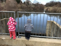 The twins climb up on the retaining pond wall in our walk today