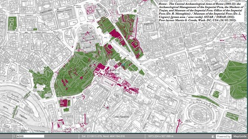 Rome - The Archaeological Management of the SS.BB.CC., Comune di Roma (2001-11): The Imperial Fora (Dr. R. Meneghini), the Markets of Trajan, and Museum of the Imperial Fora (Dr. L. Ungaro) [green area / area verde]. SITAR / SSBAR (2011).*
