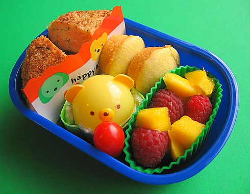 Salmon cake lunch for preschooler (with surprise animal cap)