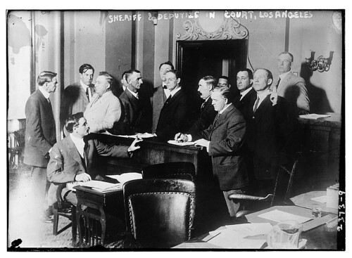 Sheriff and deputies in court, Los Angeles