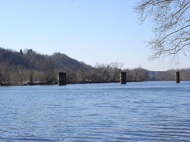 Old railroad bridge piers in james river lynchburg for James river bridge fishing pier