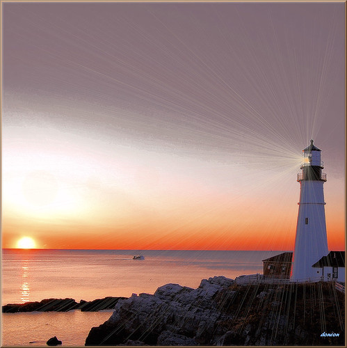 ocean sea lighthouse sunrise portland bravo maine atlantic portlandheadlight specialeffects ftwilliam aplusphoto