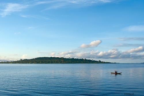 morning flowers blue lake green water island fisherman may victoria monkeys uganda spekeresort k200d pentaxjjp