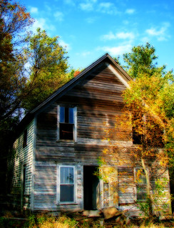 abandoned house in the fall