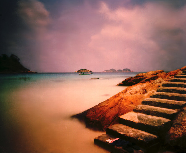 the stairs - pulau redang, pinhole photo