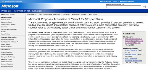 microsoft makes unsolicited offer to buy yahoo  for 44 6