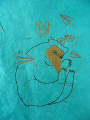 Paper Bear 3 Photos | Origami Bear on Aqua Rice Paper | 344