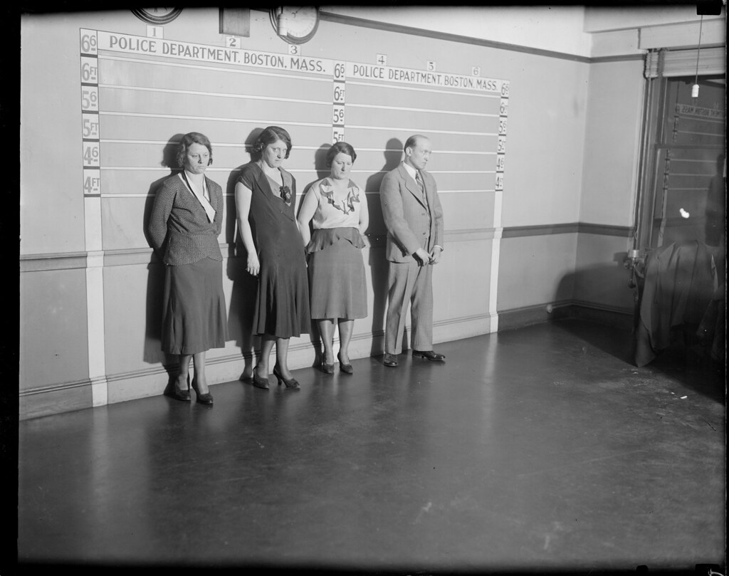 R-R: Mary McGuinnes, Mary Cushman, Mary Sutton and Max Goldberg, arrested for shop lifting