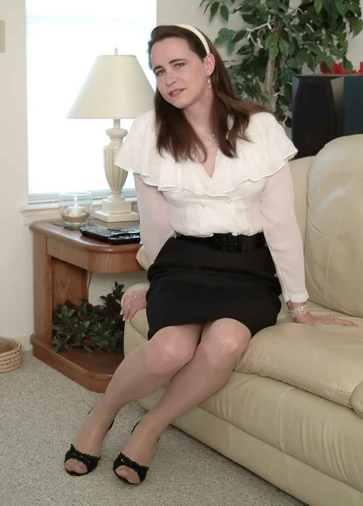 Mature in satin blouse and seamed stockings - 5 7