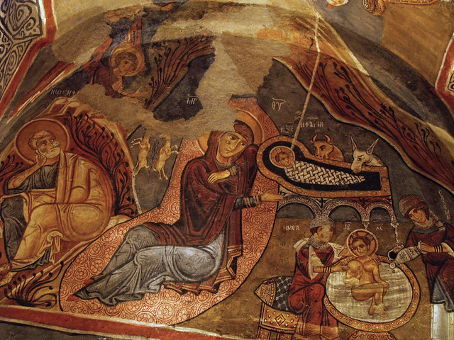 Mary and Jesus in Manger - Dark Church Cappadocia