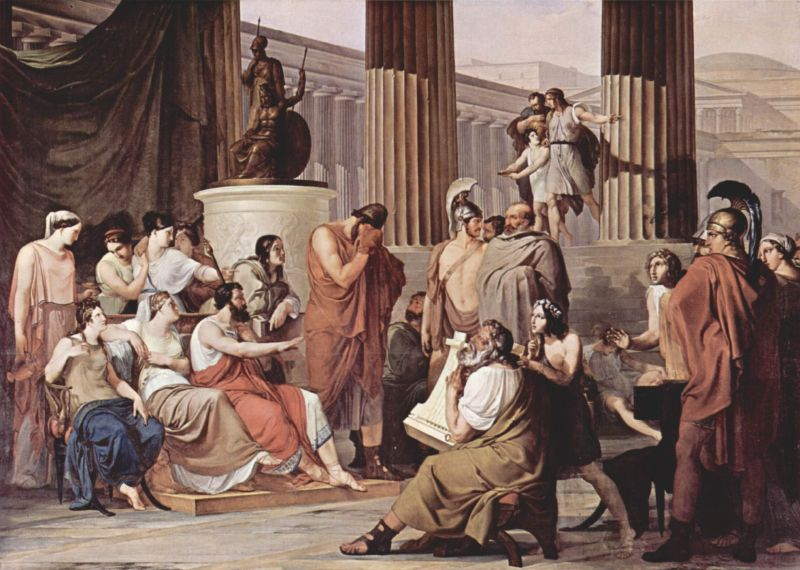 Odysseus at the palace of Alkinoös. Painting by Francesco Hayez