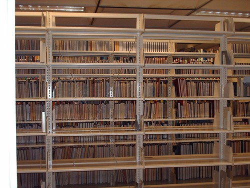 Empty Library Shelves