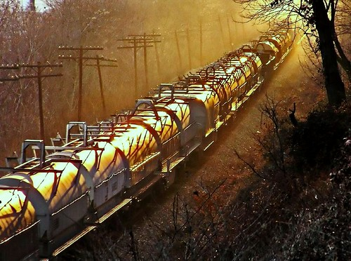 Train rides off into the sunset