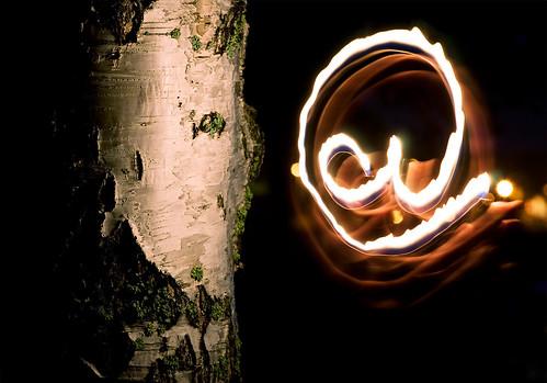 lightpainting bark letter birch lighter