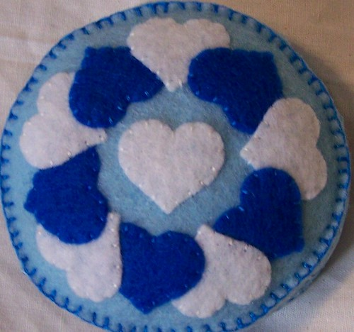 blue hearts pincushion