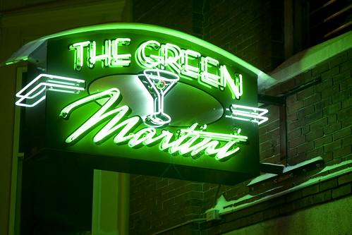 winter green sign matrix bar night neon newhampshire booze neo concord newconcord greenmartini thegreenmatrixini