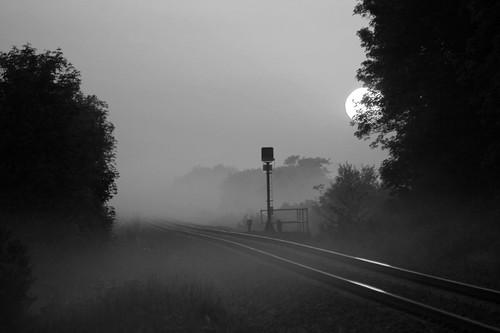 ireland blackandwhite sun mist misty sunrise landscape dawn mono railway mayo iarnrod maigheo