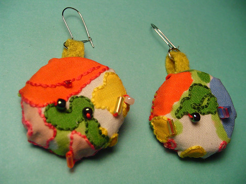 Embellished Fabric Bottle Cap Earrings