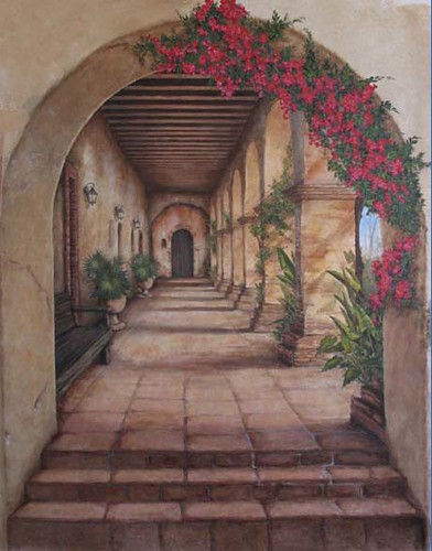 California Mission Mural Hallway