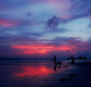 Cloudy boracay sunset
