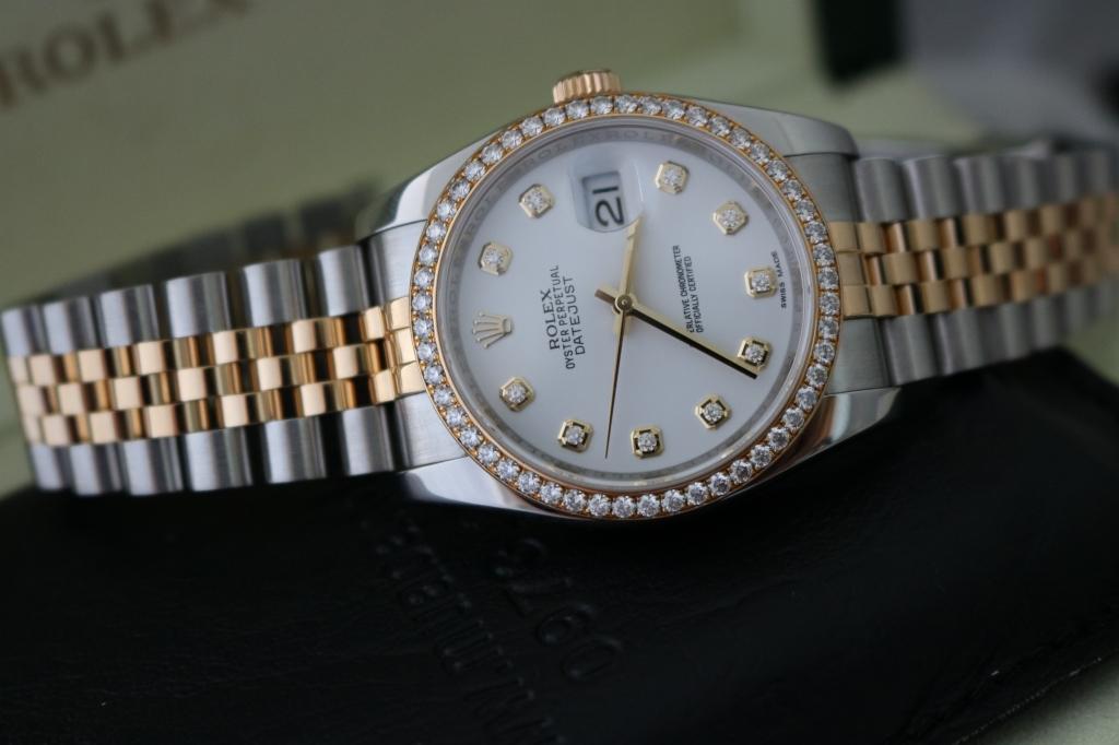 Bán đồng hồ rolex datejust 6 số 116243 – Đè mi vàng 18k – Mặt hạt xoàn – Size 36