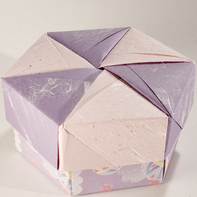 decorative hexagonal origami gift box with lid 02. Black Bedroom Furniture Sets. Home Design Ideas