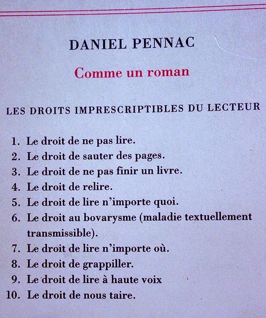 Droits des lecteurs selon Pennac