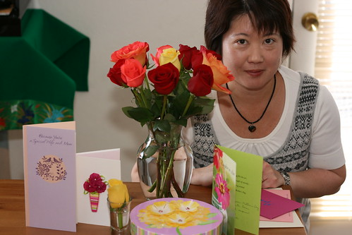 Akemi with her Mother's Day flowers