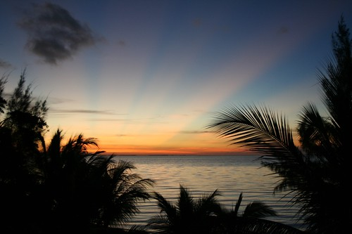 sunrise belize placencia rays morning monday happy water ocean palms silhouette wow centroamerica crepuscular