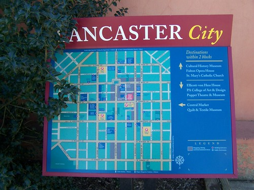 Lancaster City wayfinding sign for pedestrians