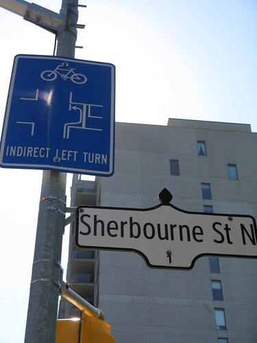 Indirect Turn Sign at Sherbourne and Bloor