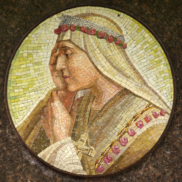Shrine of Our Lady of Sorrows, in Starkenberg, Missouri, USA - mosaic of Mary.jpg