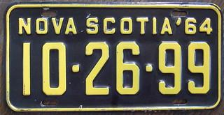 NOVA SCOTIA 1964 PASSENGER license plate USED 1965 ALSO