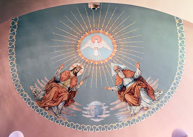 Sacred Heart Roman Catholic Church, in Crystal City, Missouri, USA - painting of trinity.jpg