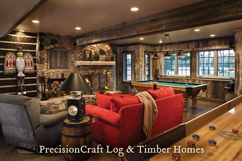 Custom Design Hybrid Log & Timber Home | Family & Game Room ...