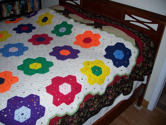 Welcome Spring With A Beautiful Crochet Flower Afghan – free