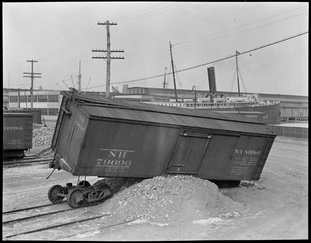 Freight car jumps bumper on Northern Ave, NY & NH Freight Yard, South Boston