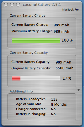 Current Battery Capacity: 17%