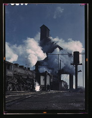 Locomotives over the ash pit at the roundhouse and coaling station at the Chicago and Northwestern Railroad yards, Chicago, Ill.  (LOC)