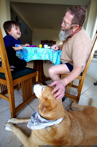 sequoia and his grandpa discuss play doh and jed the dog    MG 3755