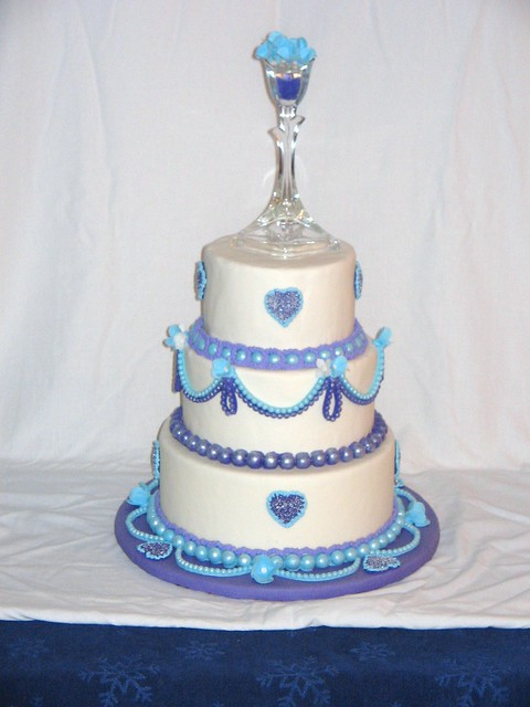 Blue and Purple Wedding Cake 001