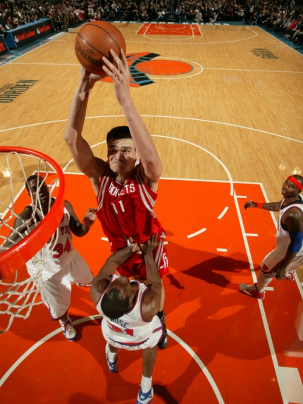 Yao Ming elevates to throw down a massive dunk over New ...