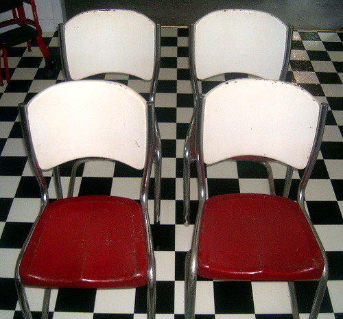 1950's ARVIN Red & White Metal Chairs