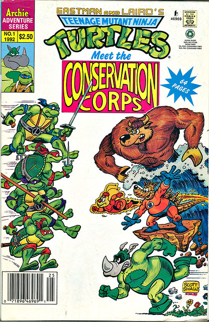 Teenage Mutant Ninja Turtles meet the CONSERVATION CORPS #1 { one shot } Cover by  SCOTT SHAW  (( 1992 ))