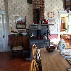 #hjertooshouse #kitchen #oldhouse #woodburningstove #rockingchair #brick #hearth #oldworldkitchen #teakettle #antique #vintage