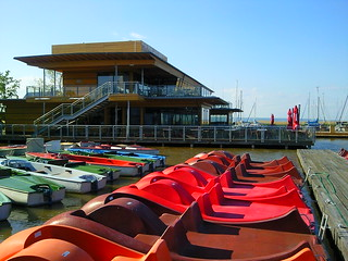 Pedal boats and Katamaran Cafe at Lake Neusiedl at Rust in Austria